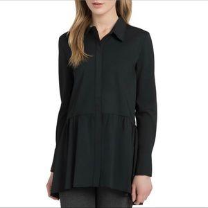 Lysse Peplum Poet Blouse Shirt Medium Black